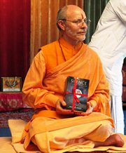 Photo: Swami Ritavan with new book Silence The Illuminated Mind